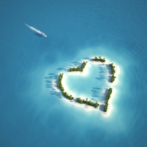 paradise heart shaped island